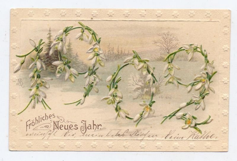 NEUJAHR - JAHRESZAHL, 1909, geprägt / embossed, relief