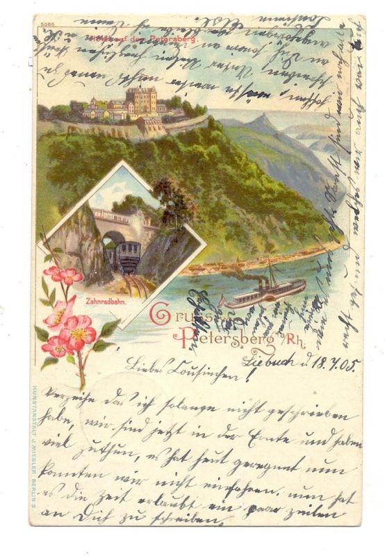 5330 KÖNIGSWINTER, Lithographie, Gruss vom Petersberg, Hotel auf dem Petersberg, Drachenfels Zahnradbahn, Brfm. entfernt
