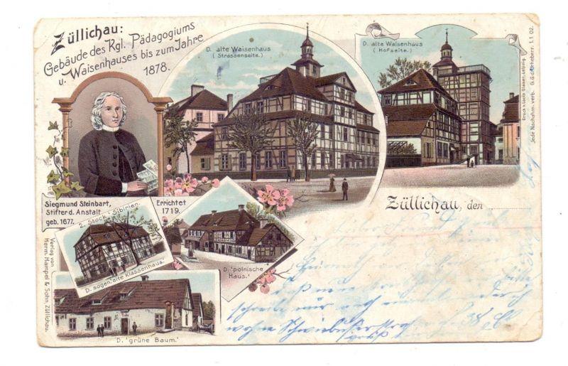 NEUMARK - ZÜLLICHAU / SULECHOW, Lithographie 1906, Pädagogicum und Waisenhaus, kl. Eckmängel
