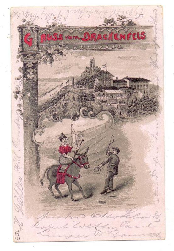 5330 KÖNIGSWINTER, Lithographie, Gruss vom Drachenfels, Eselsritt, 1900