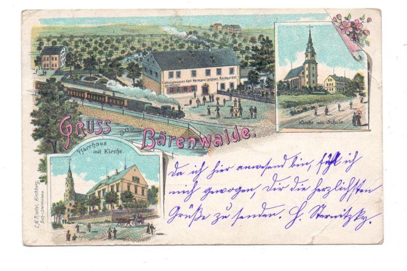 0-9501 BÄRENWALDE, Lithographie 1899, Colonialwaren - Restaurant Leitner, Eisenbahn, Kirche, Pfarrhaus, Eckmängel