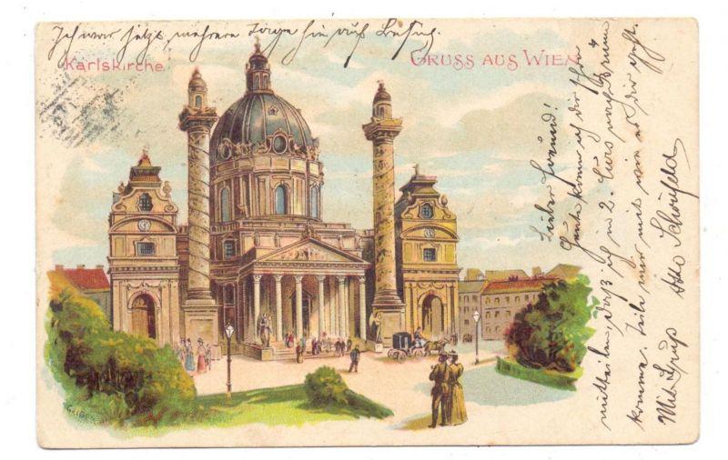 A 1000 WIEN, Karlskirche, Lithographie 1903