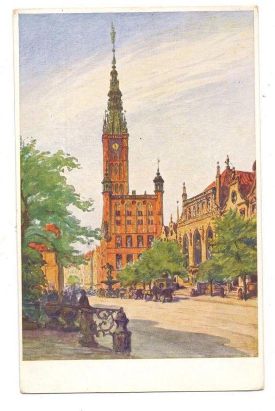 DANZIG - Langer Markt mit Rathaus, Künstler - Karte Berthold Hellingrath