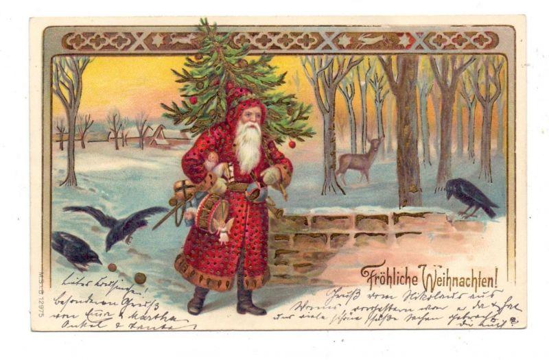 WEIHNACHTEN - WEIHNACHTSMANN / SANTA, 1901, geprägt / embossed / relief