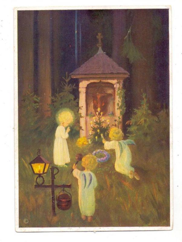 WEIHNACHTEN - Kinder mit Engelsflügeln entzünden Kerzen vor einem Waldaltar, Künstler Schönermark, 1937