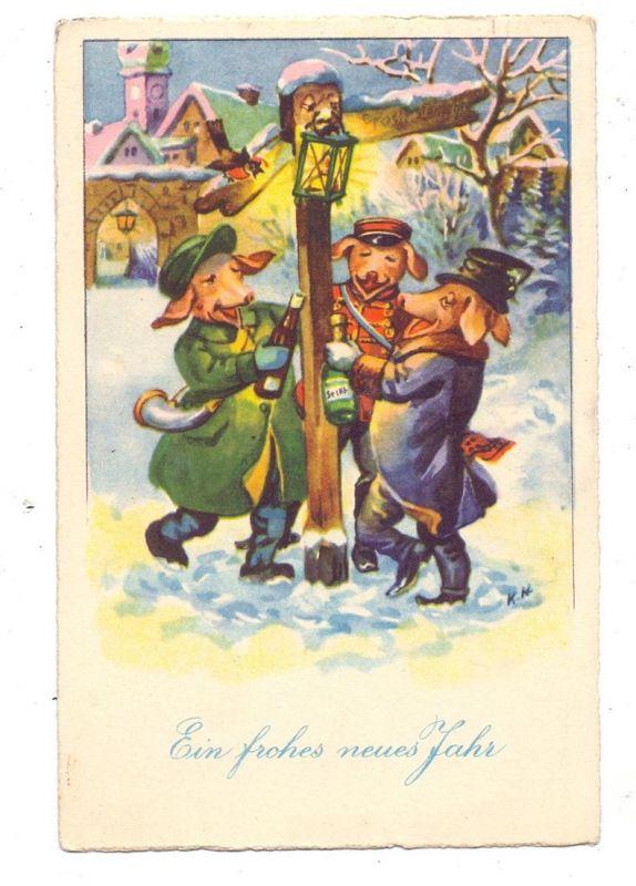 SCHWEINE - Pigs / Porcs / Maiali / Varkens / Cerdos - Drei bezechte Schweine halten sich an einem Wegweiser fest, 1931