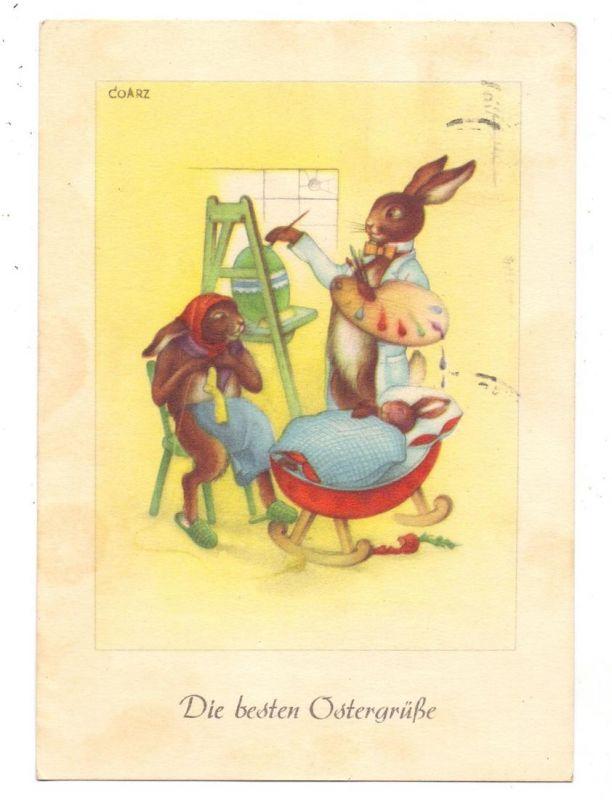 OSTERN - Die besten Ostergrüße, Ostereiermaler, Künstler-Karte COARZ, 1950