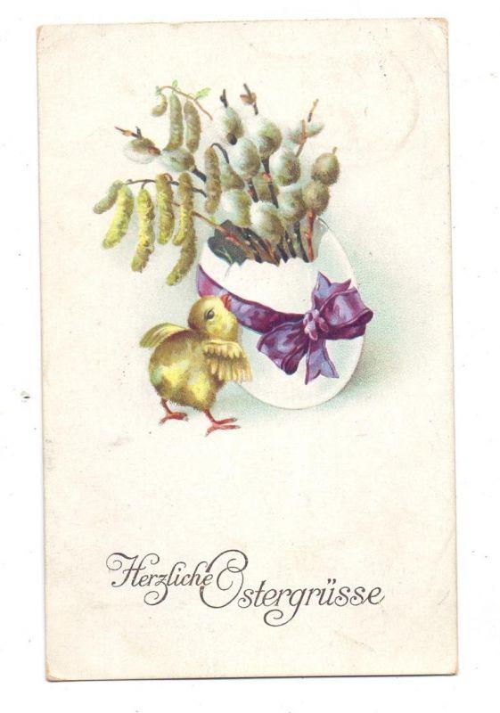 OSTERN - Küken mit Ei und Weidenkätzchen, 1910