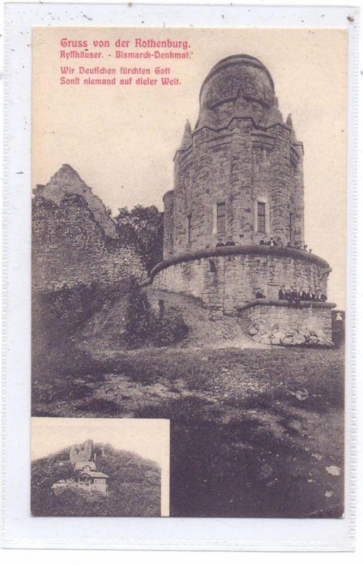 0-4712 KYFFHÄUSER, Gruss von der Rothenburg, Kyffhäuser, Bismarck-Denkmal, 1907