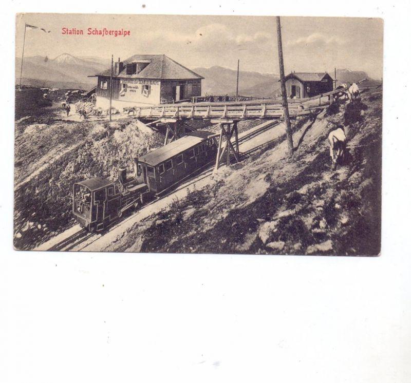 EISENBAHN - ZAHNRADBAHN, Station Schafbergalpe mit Gasthof und Landwirtschaft, 1900, Verlag Stengel