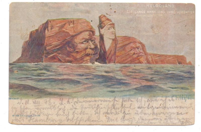 2192 HELGOLAND, Berggesichter Killinger 1898, Mängel Nadellöcher, hinterklebt