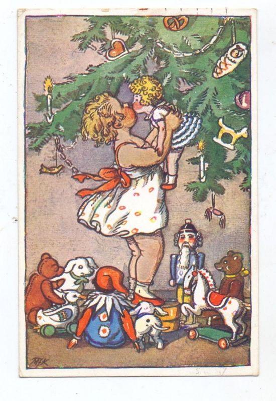 WEIHNACHTEN - Mädchen mit Geschenken unterm Weihnachtsbaum, Künstler-Karte Fischerova-Kvechova, 1934