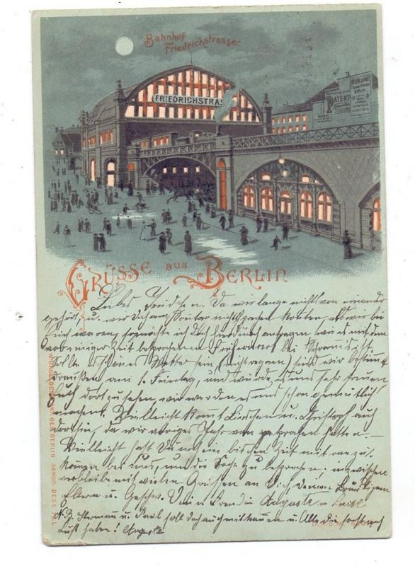 1000 BERLIN, Bahnhof Friedrichstrasse, 1899, Halt gegen das Licht / Hold to light