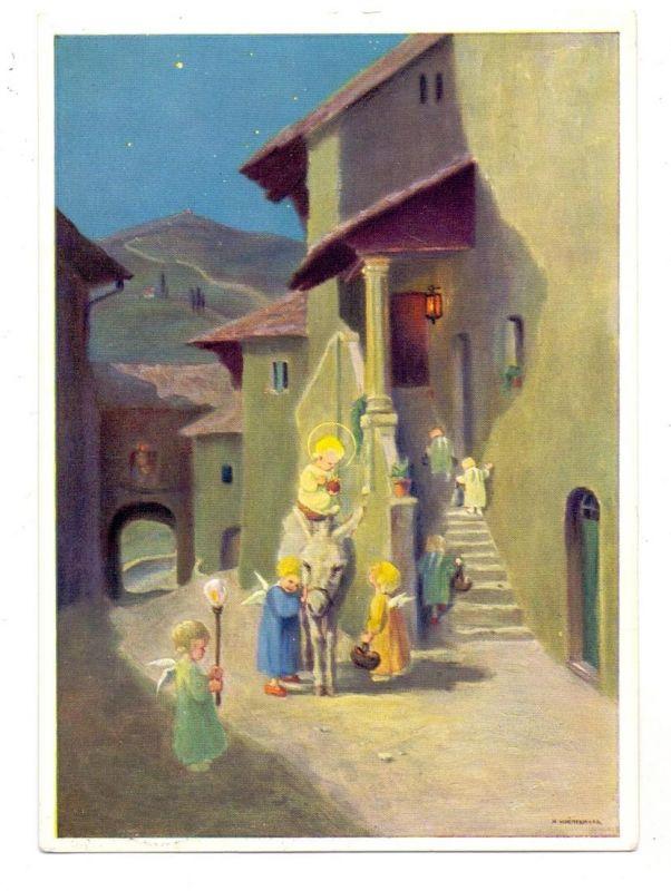 KINDER - 7 Kinder mit Engelsflügeln und einem Esel, Künstler-Karte Schönermark 0