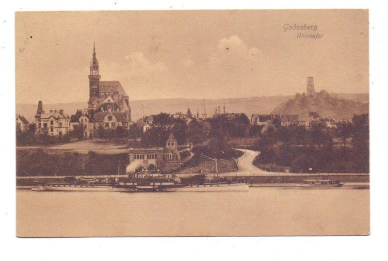 5300 BONN - BAD GODESBERG, Pädagogium von der Rheinseite, Anleger Köln-Düsseldorfer, 1910 0