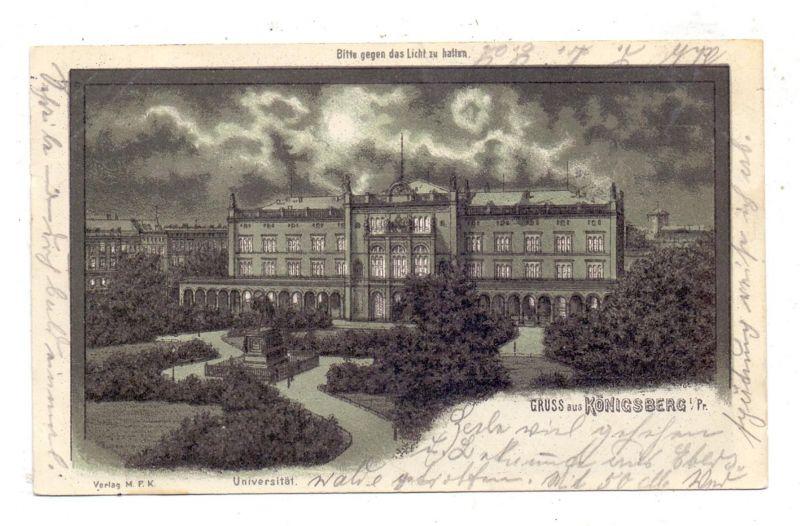 OSTPREUSSEN - KÖNIGSBERG / KALININGRAD, Universität, 1901, Halt gegen das Licht / Hold to Light