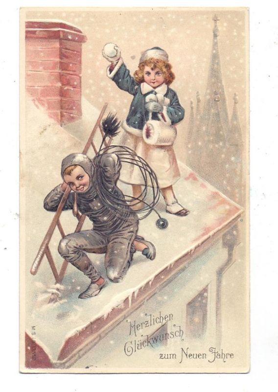 BERUFE - SCHORNSTEINFEGER / CHIMNEY SWEEPER, Schornsteinfeger und Mädchen auf dem Dach, geprägt / embossed