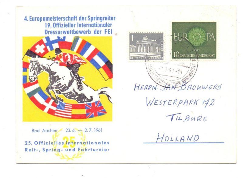 SPORT - REITEN, Europameisterschaft der Springreiter, Aachen, 1961, Sonderpostkarte