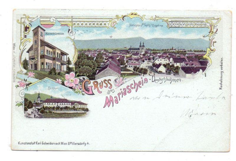 BÖHMEN & MÄHREN - GRAUPEN-MARIASCHEIN / KRUPKA-BOHUSUDOV, Lithographie 1900