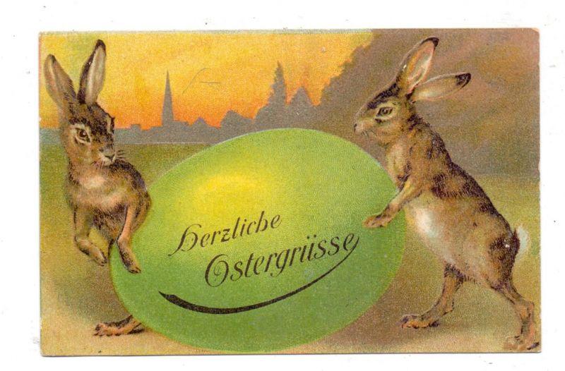 OSTERN - 2 Hasen mit grünem Osterei, geprägt / embossed / relief, 1910