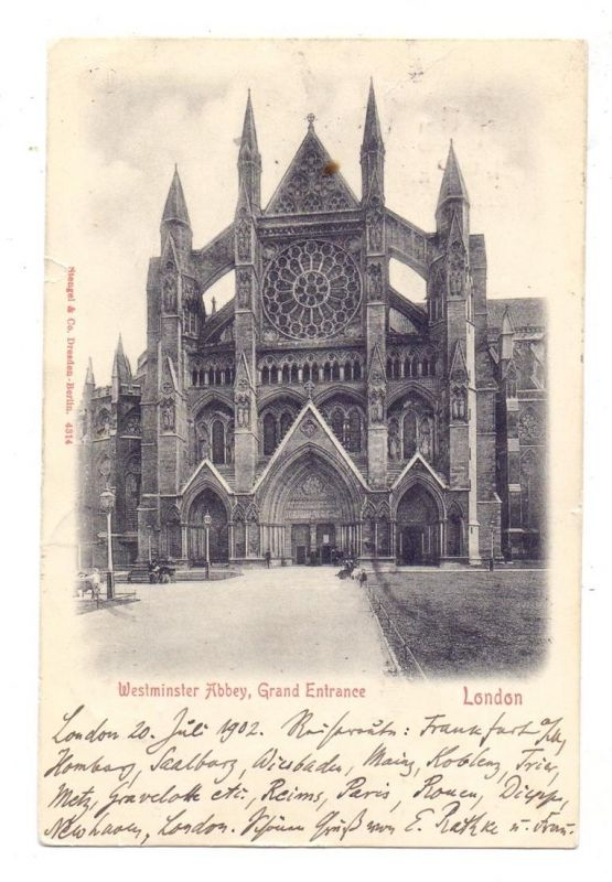 DEUTSCHES REICH, 1902, AK von London nach Berlin, nachgesandt nach Stettin / Wussecken / Zanow - Pommern 1