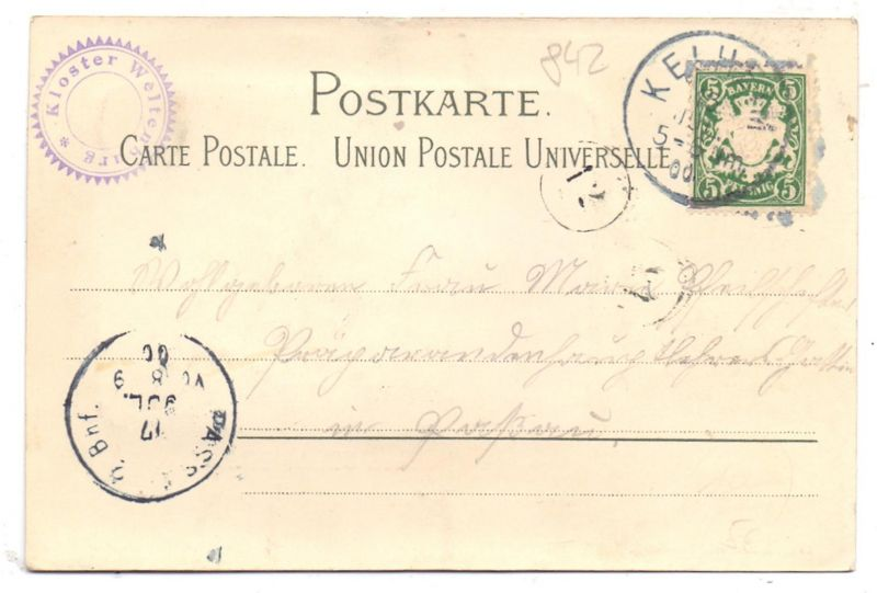 8420 KELHEIM - WELTENBURG, Kloster Weltenburg, Passepartout-Karte 1900 1