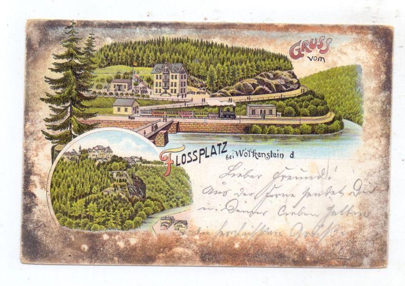 0-9361 WOLKENSTEIN, Lithographie 1899, Bahnhof mit Eisenbahn, Flossplatz 0