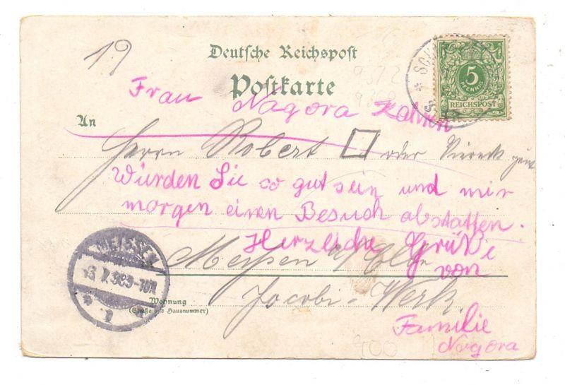 0-9361 WOLKENSTEIN, Lithographie 1899, Bahnhof mit Eisenbahn, Flossplatz 1