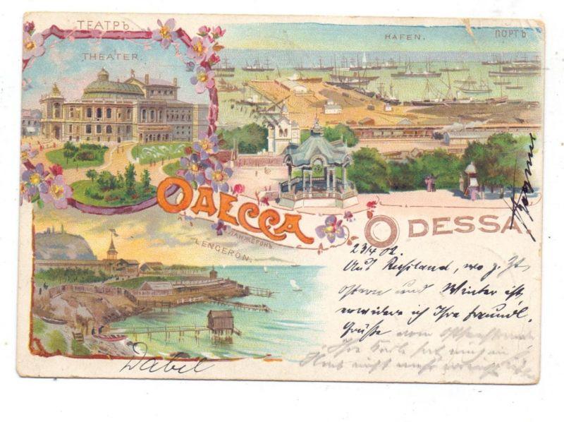 UKRAINE - ODESSA, Lithographie 1902, Hafen, Theater, Lengeron,  kl. Einriss 0