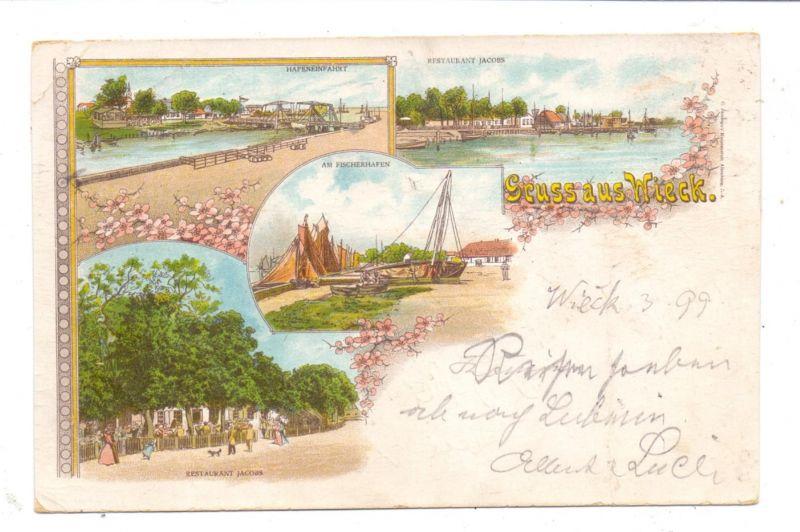 0-2381 WIECK, Lithographie 1899, Restaurant Jacobs, Hafeneinfahrt, Am Fischerhafen, Druckstelle 0