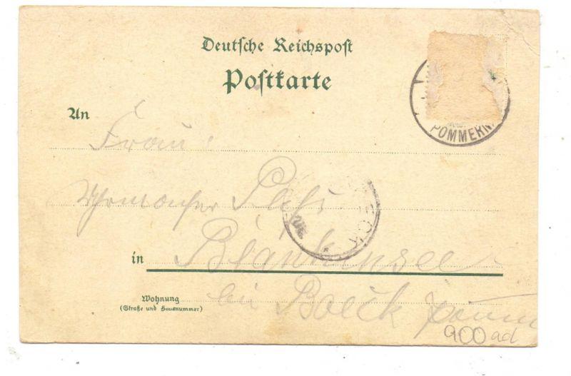 0-2381 WIECK, Lithographie 1899, Restaurant Jacobs, Hafeneinfahrt, Am Fischerhafen, Druckstelle 1