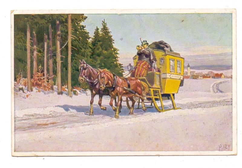 KÜNSTLER - ARTIST - PAUL HEY - Neujahrskarte Nr.10, Postkutsche auf Kufen