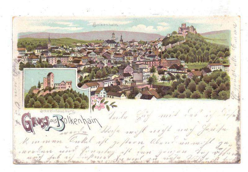 NIEDER-SCHLESIEN - BOLKENHAIN / BOLKOW, Lithographie, Gesamtansicht und Burg-