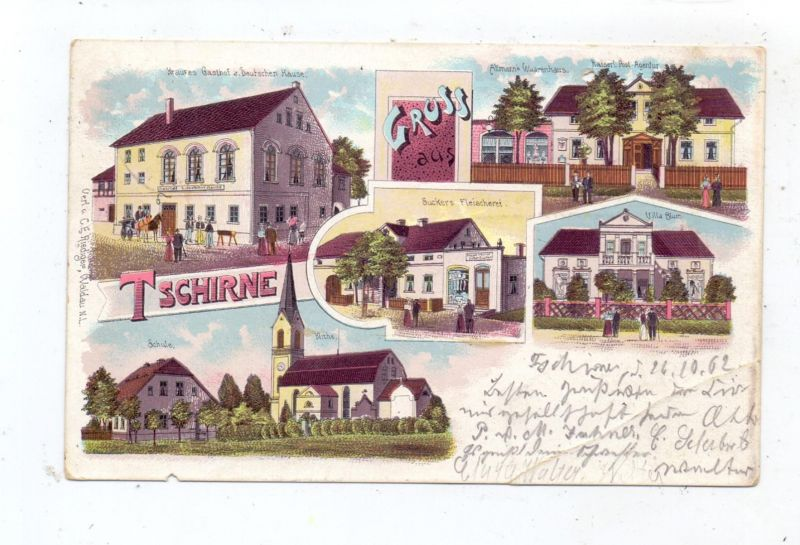 NIEDER-SCHLESIEN - TSCHIRNE / CZERNA, Kreis Bunzlau, Lithographie 1902, Gasthof, Post...Knick, kl. Loch