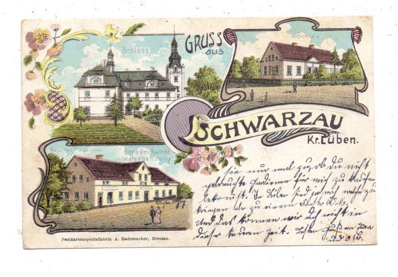 NIEDER-SCHLESIEN - SCHWARZAU / CZERNIEC, Kreis Lüben, Lithographie, Warenhandlung, Schule, Schloss