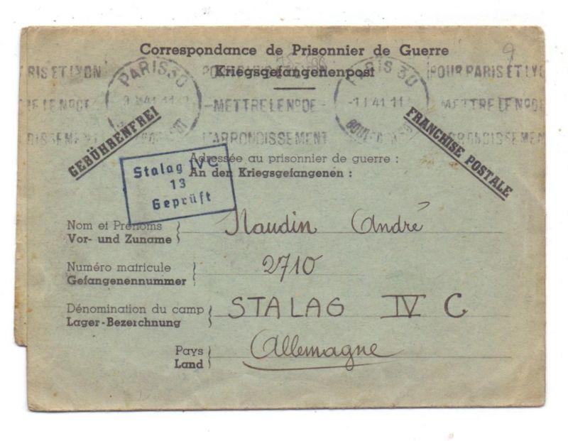 BÖHMEN & MÄHREN - WISTRITZ / DUBI, Kriegsgefangenenpost STALAG 4 C, 1941