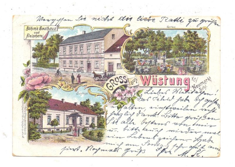 NIEDERSCHLESIEN - NEUMARKT / SRODA SLASKA, WÜSTUNG, Litho, Böhm's Gatshaus und Fleischerei
