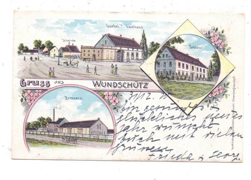 OBERSCHLESIEN - WUNDSCHÜTZ / WOLCZYN, Lithographie, Brennerei, Goebel's Gasthaus, Schmiede, Schloss, FRANKATUR