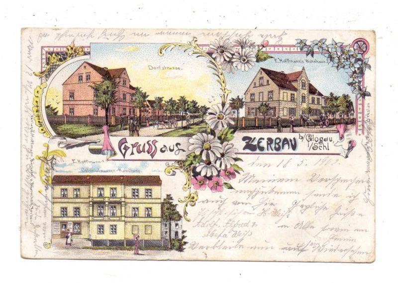 NIEDERSCHLESIEN - ZERBAU / SERBY, Lithographie 1902, Colonialwaren-Handlung, E. Hoffmann's Wohnhaus, Dorfstrasse