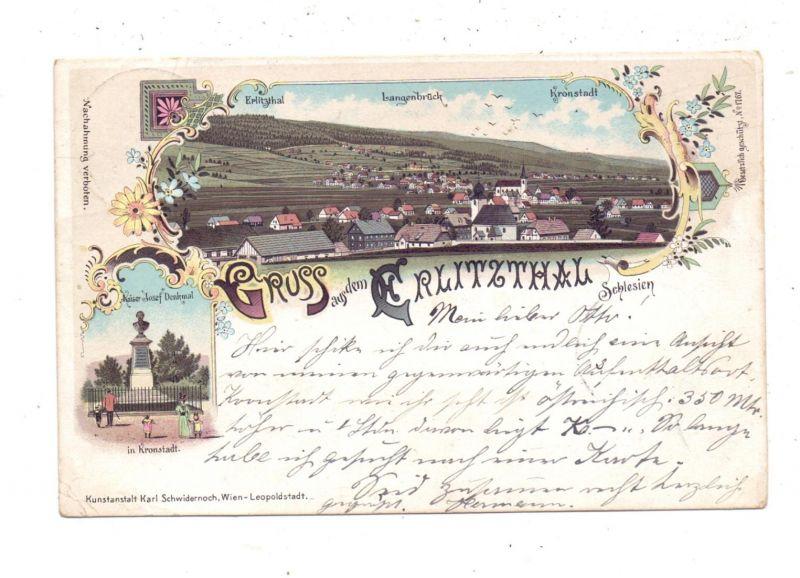 NIEDERSCHLESIEN - LANGENBRÜCK / MOSTOWICE, Lithographie 1897, Gruss aus dem Ehrlitzthal