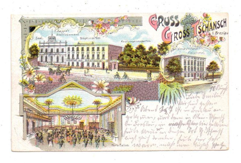 NIEDERSCHLESIEN - BRESLAU  / WROCLAW - GROSS-TSCHANSCH, Lithographie, Pfitzner's Fleischerei, Zappe's Etablisement