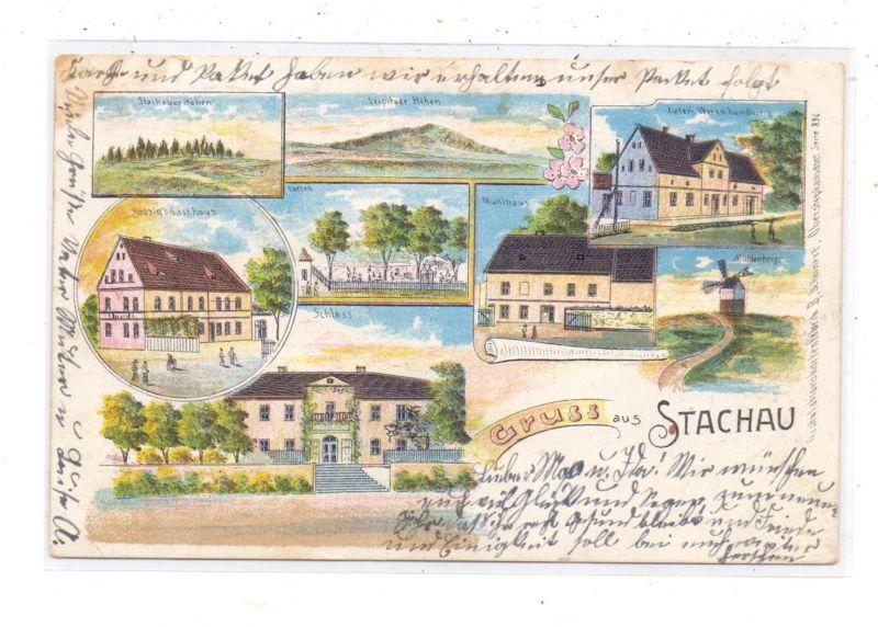 NIEDER-SCHLESIEN - STACHAU, Kreis Nimptsch, Lithographie, Brosig's Gasthaus, Auter's warenhandlung, Mühle, Mühlhaus...