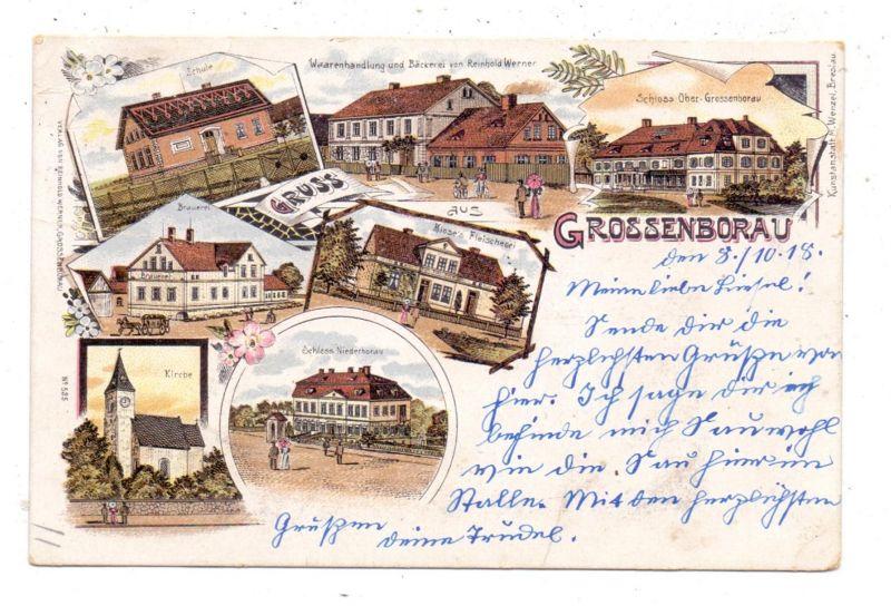 NIEDER-SCHLESIEN - GROSSENBORAU / BOROW WIELKI, Lithographie, Brauerei, Klose's Fleischerei, Bäckerei....