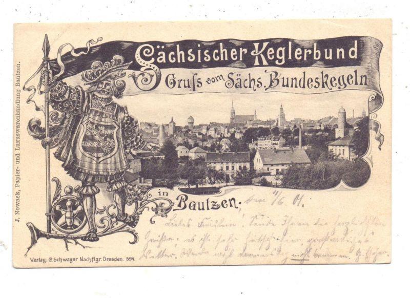 BOWLING / KEGELN, Sächsischer Keglerbund, Gruß vom Sächsischen Bundeskegeln, 1901