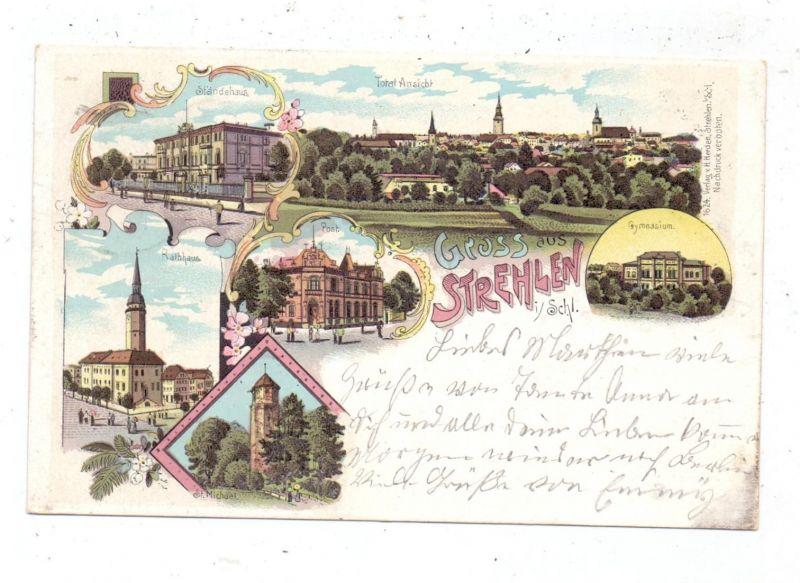 NIEDER-SCHLESIEN - STREHLEN / STRZELIN, Lithographie, Gymnasium, Post, Ständehaus, Rathaus, St. Michael..