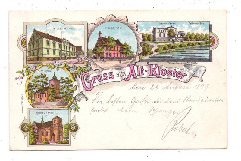 NIEDER-SCHLESIEN - ALT-KLOSTER, Lihographie 1897, Schloß Fehlen, Kirche, Maslak's Hotel, Kath. Kirche, Ev. Kirche
