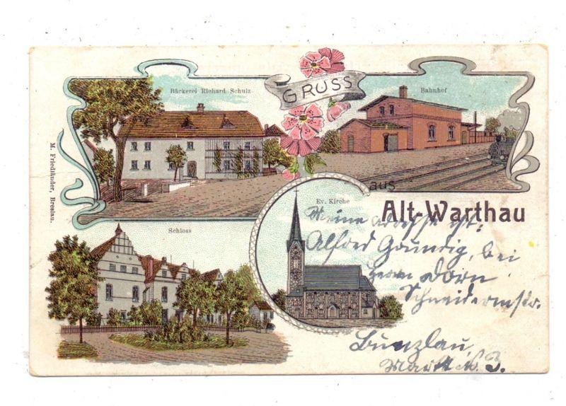 NIEDER-SCHLESIEN - ALT-WARTHAU / WARTA BOLESLAWIECK, Lithographie, Bäckerei Richard Schulz, Bahnhof, Schloss, Kirche