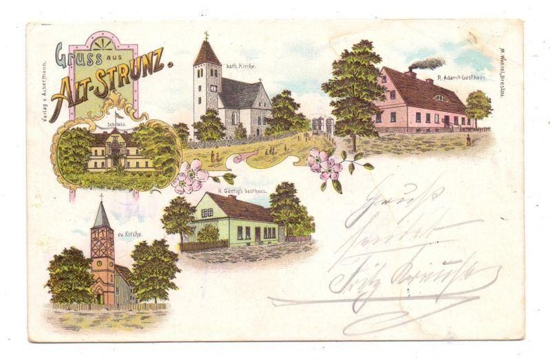 NIEDER-SCHLESIEN - ALT-STRUNZ/DEUTSCHECK / STARE STRACZE, Litho 1900, Adam's Gasthaus, Gärtig's Gasthaus, Kirchen..