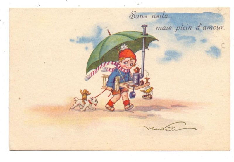 KINDER - Künstler-Karte Castelli, Mädchen mit Hund, Teddy, Spielzeug