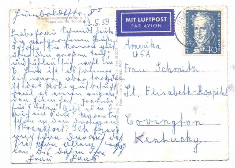 BUND, 1959, Michel 309 von Humboldt, Luftpost-AK in die USA